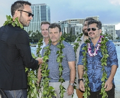 """HAWAII FIVE-0 kicked off production on season seven in Honolulu today with a traditional Hawaiian blessing in honor of its host Hawaiian culture. Series stars Alex O'Loughlin, Daniel Dae Kim, Grace Park, Chi McBride, Jorge Garcia, Sean Garnett, Teilor Grubbs, Dennis Chun, as well as the producers and the entire HAWAII FIVE-0 crew, participated. Kahu (Officiant) Kordell Kekoa officiated over the ceremony, which included traditional royal maile leis, Oli Aloha (welcoming chant), and Pule Ho'oku'u (closing prayer). In honor of the show's seventh season, the ceremony centered around the Hawaiian word 'ehiku, which translates to """"seven,"""" and focused on success being rooted in work done with love. Pictured Left to Right: Alex O'Loughlin, Bryan Spicer, Jeff Downer, Jorge Garcia, Peter Lenkov. Photo: Norm Shapiro/CBS ©2016CBS Broadcasting Inc. All Rights Reserved"""