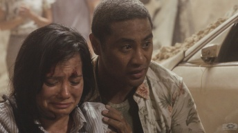 """Kuipeia e ka makani apaa"" -- Tani and Junior must plot an escape for themselves and several civilians after they become trapped inside a deadly tunnel collapse, while Five-0 investigates the cause and culprits of the cave-in. Also, Eddie the dog uses his field experience and sniffs out a bomb that has been planted in McGarrett's home, on HAWAII FIVE-0, Friday, Oct. 4 (8:00-9:00 PM, ET/PT) on the CBS Television Network. Pictured: Beulah Koale as Junior Reigns. Photo: screengrab/CBS ©2019 CBS Broadcasting, Inc. All Rights Reserved (""Kuipeia e ka makani apaa"" is Hawaiian for ""Knocked flat by the wind; sudden disaster"")"
