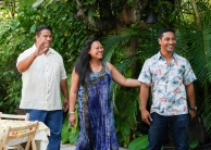"""Ka lā'au kumu 'ole o Kahilikolo"" -- It's Thanksgiving, and while Junior and Tani track down the thief who robbed his parents' home, Five-0 investigates the murder of a beloved philanthropist and the theft of his ultra-valuable koa tree. Also, Danny moves in with McGarrett, on HAWAII FIVE-0, Friday, Nov. 22 (8:00-9:00 PM, ET/PT) on the CBS Television Network. Pictured L to R: Eric Scanlan as Natano, Cassandra Hepburn as Lana, and Beulah Koale as Junior Reigns. Photos: Karen Neal/CBS©2019 CBS Broadcasting, Inc. All Rights Reserved (""Ka lā'au kumu 'ole o Kahilikolo"" is Hawaiian for ""The Trunkless Tree of Kahilikolo"")"