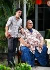 """Ka lā'au kumu 'ole o Kahilikolo"" -- It's Thanksgiving, and while Junior and Tani track down the thief who robbed his parents' home, Five-0 investigates the murder of a beloved philanthropist and the theft of his ultra-valuable koa tree. Also, Danny moves in with McGarrett, on HAWAII FIVE-0, Friday, Nov. 22 (8:00-9:00 PM, ET/PT) on the CBS Television Network. Pictured L to R: Ian Anthony Dale as Adam Noshimuri and Taylor Wily as Kamekona. Photos: Karen Neal/CBS©2019 CBS Broadcasting, Inc. All Rights Reserved (""Ka lā'au kumu 'ole o Kahilikolo"" is Hawaiian for ""The Trunkless Tree of Kahilikolo"")"
